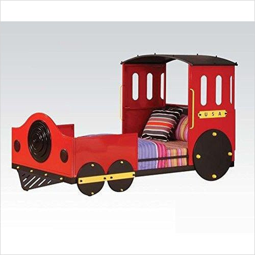 Tobi Twin Bed, Red Train-Furniture - www.Gifteee.com - Cool Gifts \ Unique Gifts - The Best Gifts for Men, Women and Kids of All Ages