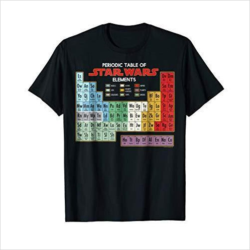 Star Wars Periodic Table of Elements T-Shirt - Find unique gifts for Star Wars fans, new star wars games and Star wars LEGO sets, star wars collectibles, star wars gadgets and kitchen accessories at Gifteee Cool gifts, Unique Gifts for Star Wars fans