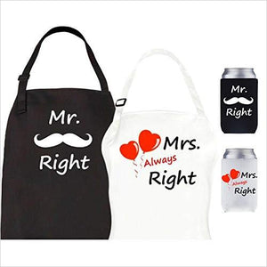 Mr Right Mrs Always Right Aprons and Can Coolers-Home - www.Gifteee.com - Cool Gifts \ Unique Gifts - The Best Gifts for Men, Women and Kids of All Ages