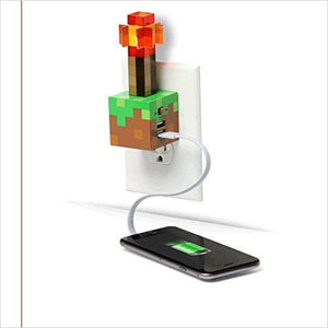 Minecraft Redstone Torch USB Wall Charger Charging Station-usb charger - www.Gifteee.com - Cool Gifts \ Unique Gifts - The Best Gifts for Men, Women and Kids of All Ages
