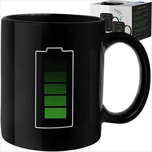 Battery Heat Sensitive Mug - Find unique decor gifts for the office and workplace, get cool gadgets for your office desk and cubicle at Gifteee Cool gifts, Unique decor Gifts for the office and workplace