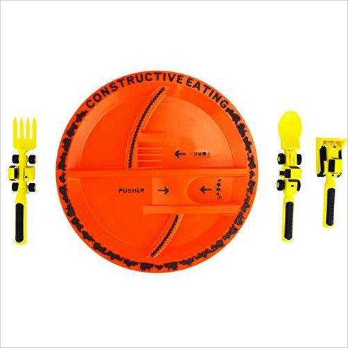 Construction Utensil Set with Construction Plate - Find unique gifts that will get you kids eating well and eating healthy with unique foodie gifts for kids dinner and the kitchen at Gifteee Cool gifts, Unique Gifts that will make kids enjoy eating