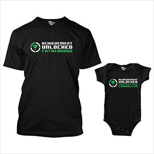Achievement Unlocked Fatherhood Matching Bodysuit & Men's T-Shirt-Apparel - www.Gifteee.com - Cool Gifts \ Unique Gifts - The Best Gifts for Men, Women and Kids of All Ages