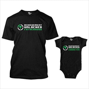 Achievement Unlocked Fatherhood Matching Bodysuit & Men's T-Shirt - Find funny gift ideas, the best gag gifts, gifts for pranksters that will make everybody laugh out loud at Gifteee Cool gifts, Funny gag Gifts for adults and kids