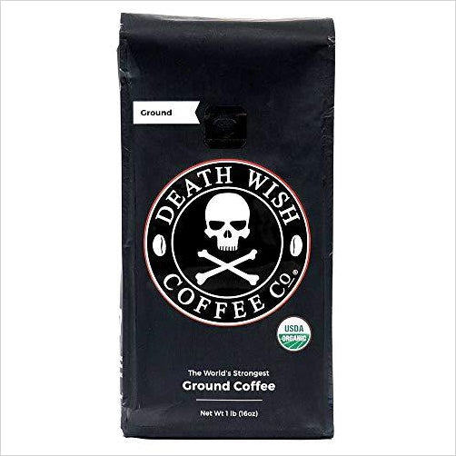 Death Wish Ground Coffee, The World's Strongest Coffee-Grocery - www.Gifteee.com - Cool Gifts \ Unique Gifts - The Best Gifts for Men, Women and Kids of All Ages