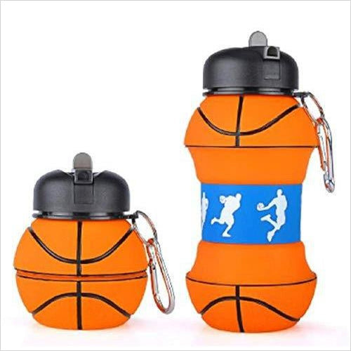 Silicone Foldable Basketball Sports Travel Water bottle - Find the perfect gift for a sport fan, gifts for health fitness fans at Gifteee Cool gifts, Unique Gifts for wellness, sport and fitness