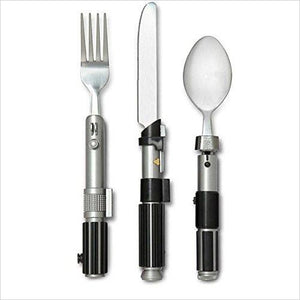 Star Wars Lightsaber Flatware Utensil Set (Includes Luke Fork, Yoda Spoon, and Vader-Knife) - Find unique gifts that will get you kids eating well and eating healthy with unique foodie gifts for kids dinner and the kitchen at Gifteee Cool gifts, Unique Gifts that will make kids enjoy eating
