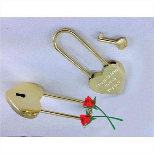 Personalized Gold Heart Love Padlock - Gifteee. Find cool & unique gifts for men, women and kids