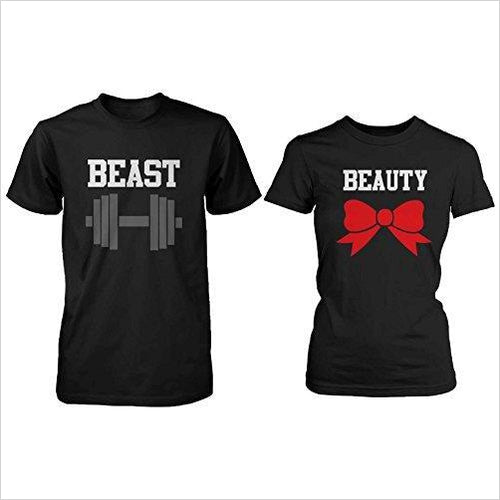 Beauty and Beast Couple Tees-Apparel - www.Gifteee.com - Cool Gifts \ Unique Gifts - The Best Gifts for Men, Women and Kids of All Ages
