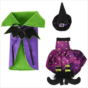 Halloween Wine Bottle Covers, Bat Cape w/ Polka Dot & Stripes Witch Outfit-Kitchen - www.Gifteee.com - Cool Gifts \ Unique Gifts - The Best Gifts for Men, Women and Kids of All Ages