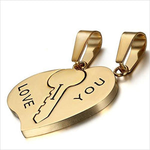 "His and Hers ""I Love You"" Heart Key Matching Pendant - Find beautiful jewelry and accessories for women, teen girls and girls in all ages from 24k gold jewelry to children jewelry. necklaces, earrings, rings, engagement rings, unique jewelry for valentine's day at Gifteee Special gifts, Beautiful gifts for women"
