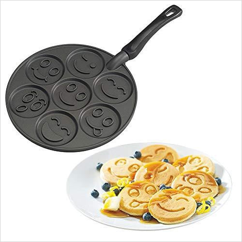 Smiley Face Pancake Pan - Find unique gifts that will get you kids eating well and eating healthy with unique foodie gifts for kids dinner and the kitchen at Gifteee Cool gifts, Unique Gifts that will make kids enjoy eating