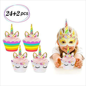 Unicorn Cupcake Toppers and Wrappers-Kitchen - www.Gifteee.com - Cool Gifts \ Unique Gifts - The Best Gifts for Men, Women and Kids of All Ages