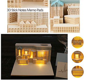 Creative DIY Post Notes Art - Lighted Building