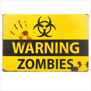 Retro Zombie Warning Sign-Home - www.Gifteee.com - Cool Gifts \ Unique Gifts - The Best Gifts for Men, Women and Kids of All Ages
