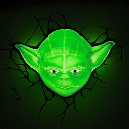 Star Wars Yoda Face 3D Deco LED Wall Light - Find unique gifts for Star Wars fans, new star wars games and Star wars LEGO sets, star wars collectibles, star wars gadgets and kitchen accessories at Gifteee Cool gifts, Unique Gifts for Star Wars fans