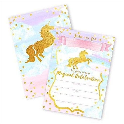Magical Unicorn 12 LARGE Invitations - Gifteee. Find cool & unique gifts for men, women and kids