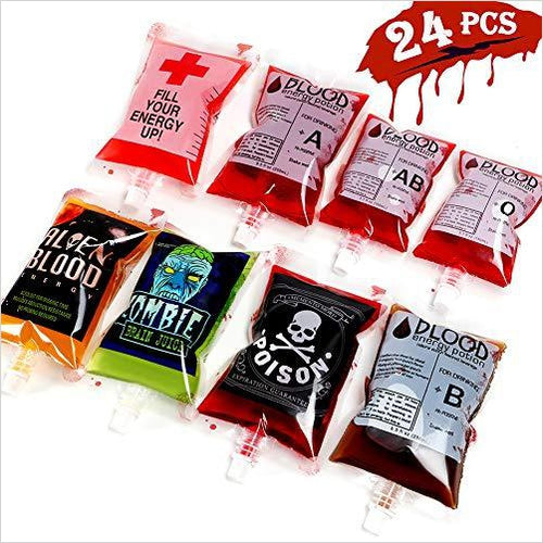 Blood Bags Drink Container 24 Pcs - Gifteee. Find cool & unique gifts for men, women and kids