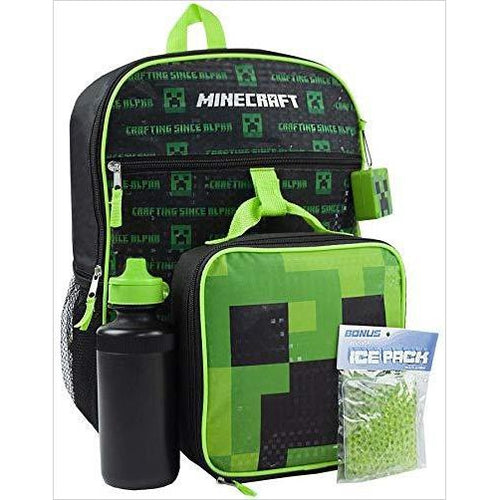 Minecraft Creeper 5 Piece Backpack Set-Luggage - www.Gifteee.com - Cool Gifts \ Unique Gifts - The Best Gifts for Men, Women and Kids of All Ages