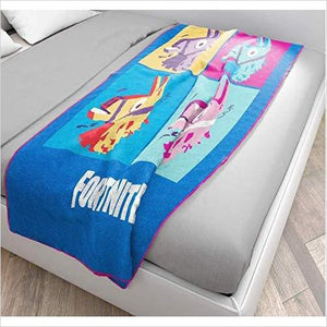 Fortnite 'Llama Grid' Silk Touch Throw, Kid's Bedding - Find Fortnite Battle Royale and Fortnite Chapter 2 Gifts for Fortnite Fans, and Epic games official gifts at Gifteee Unique Gifts, Cool gifts for kids and gamers