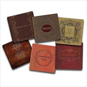 Jane Austen Books Coaster Set-Kitchen - www.Gifteee.com - Cool Gifts \ Unique Gifts - The Best Gifts for Men, Women and Kids of All Ages