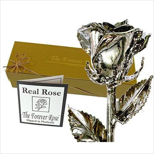 Platinum Dipped Real Rose w/Gold Gift Box-Home - www.Gifteee.com - Cool Gifts \ Unique Gifts - The Best Gifts for Men, Women and Kids of All Ages