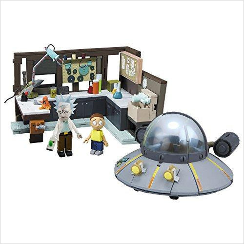 Rick and Morty Spaceship and Garage Large Construction Set - Find construction toys for kids, building games, LEGO sets and puzzles for the young engineer at Gifteee Unique Gifts, Cool gifts for kids of all ages
