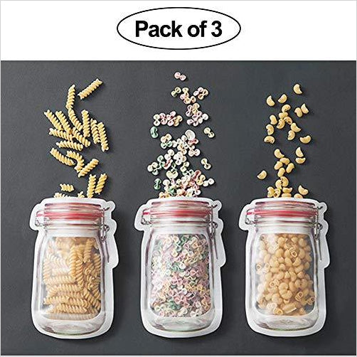 Mason Jar Shape Zipper Reusable Sandwich Bags-Health and Beauty - www.Gifteee.com - Cool Gifts \ Unique Gifts - The Best Gifts for Men, Women and Kids of All Ages
