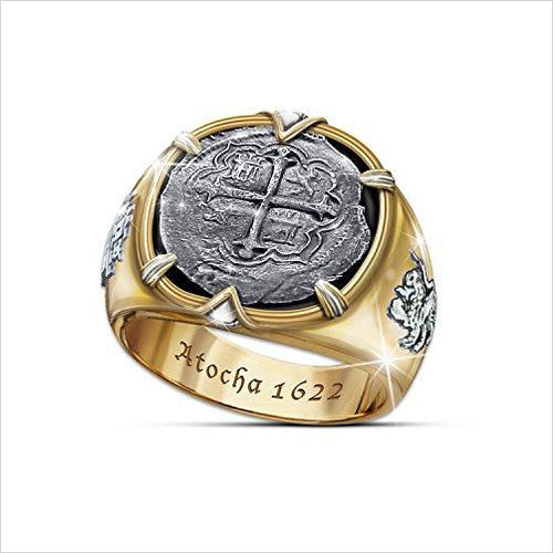 Atocha 1622 Shipwreck Men's Ring Crafted From Sunken 8 Reales Silver Coins-Jewelry - www.Gifteee.com - Cool Gifts \ Unique Gifts - The Best Gifts for Men, Women and Kids of All Ages