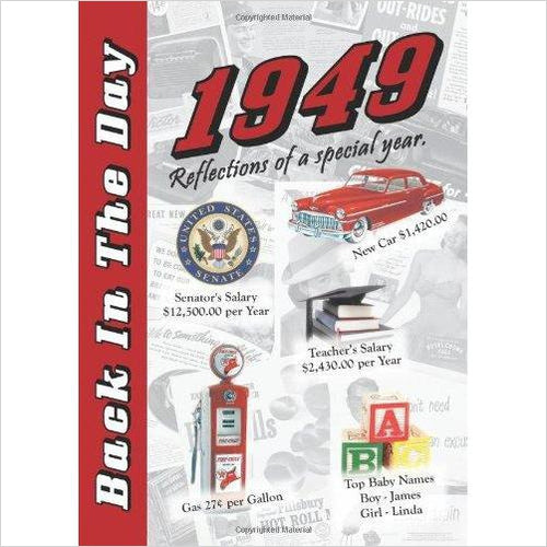 1949 Back In The Day Almanac - 24-page Booklet / Greeting Card - Find birthday unique party accessories and cool birthday party supplies and also birthday party games for kids and adults at Gifteee Unique Gifts, Cool gifts for kids of all ages
