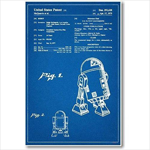 R2D2 Patent Poster - Find unique decor gifts for the office and workplace, get cool gadgets for your office desk and cubicle at Gifteee Cool gifts, Unique decor Gifts for the office and workplace