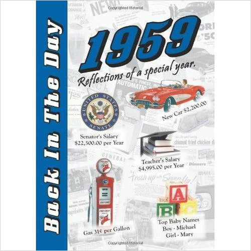 1959 Back In The Day Almanac - 24-page Booklet / Greeting Card - Find birthday unique party accessories and cool birthday party supplies and also birthday party games for kids and adults at Gifteee Unique Gifts, Cool gifts for kids of all ages