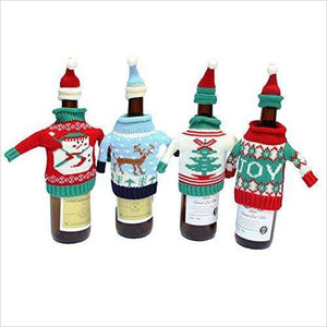 Christmas Wine Bottle Knitted Ugly Sweater Covers Set - Find unique gift ideas for foodies, for those who love to cook, love to eat, wine lovers, bar accessories and that enjoy unique kitchen gifts and accessories at Gifteee Unique Gifts, Cool gifts for men and women