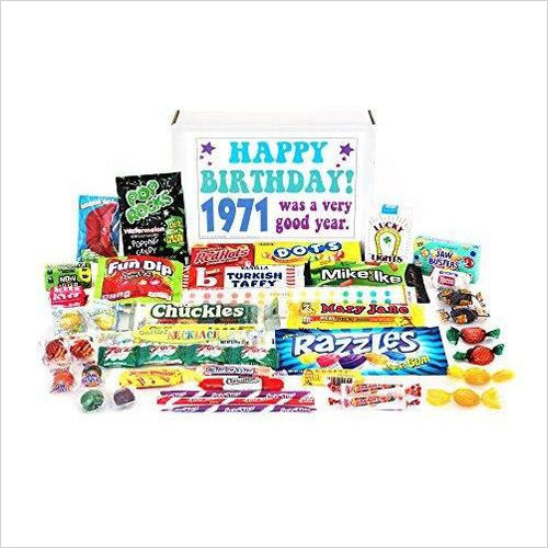 Nostalgic Retro Candy Mix from Childhood 1971 47th Birthday Gift Box - Gifteee. Find cool & unique gifts for men, women and kids