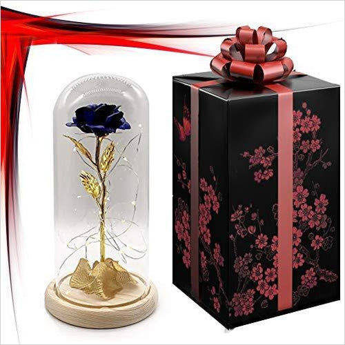 Gold dipped Rose preservered in Glass dome with LED light-Home - www.Gifteee.com - Cool Gifts \ Unique Gifts - The Best Gifts for Men, Women and Kids of All Ages