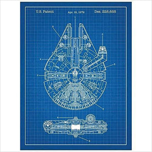 Inked and Screened Star Wars Millennium Falcon Design Patent Art Poster - Find unique gifts for Star Wars fans, new star wars games and Star wars LEGO sets, star wars collectibles, star wars gadgets and kitchen accessories at Gifteee Cool gifts, Unique Gifts for Star Wars fans
