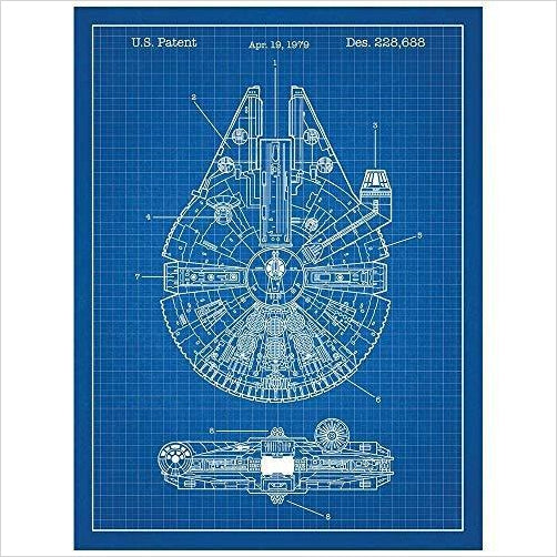 Inked and Screened Star Wars Millennium Falcon Design Patent Art Poster-Home - www.Gifteee.com - Cool Gifts \ Unique Gifts - The Best Gifts for Men, Women and Kids of All Ages