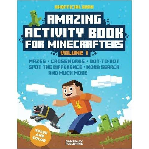 Amazing Activity Book For Minecrafters - Find Minecraft gift ideas for kids, educational minecraft gifts, minecraft clothing, minecraft figures, minecraft toys and more at Gifteee Unique Gifts, Cool gifts for Minecraft fans