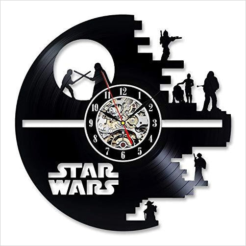 Vinyl Evolution Star Wars Wall Clock - Find unique for sound lovers, for music fans, for musicians, composers and everybody that love unique sound related gifts at Gifteee Cool gifts, Unique Gifts for sound and music
