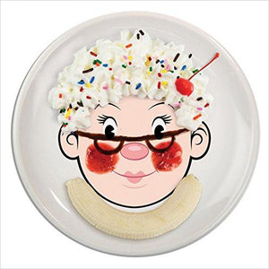 MRS. FOOD FACE Dinner Plate - Find unique gifts that will get you kids eating well and eating healthy with unique foodie gifts for kids dinner and the kitchen at Gifteee Cool gifts, Unique Gifts that will make kids enjoy eating