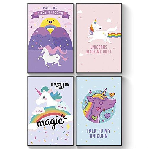 Set of FOUR, 11X17 Magical Unicorns Posters With GOOD VIBES - Find Unicorn gifts for girls and unicorn gifts for women, magical unicorn gifts ideas - jewelry, clothing, accessories and games at Gifteee Unique Gifts, Cool gifts for unicorn lovers