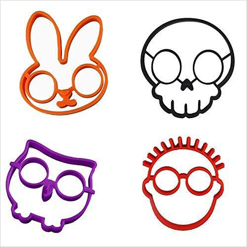 Silicone Fried Egg Mold - SKULL, OWL, RABBIT and the GUY - Find unique gifts for a newborn baby and cool gifts for toddlers ages 0-4 year old, gifts for your kids birthday or Christmas, special baby shower gifts and age reveal gifts at Gifteee Unique Gifts, Cool gifts for babies and toddlers