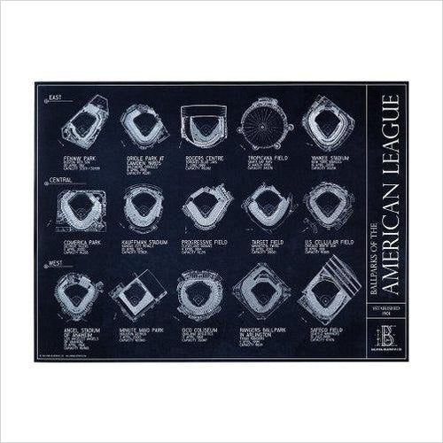 Ballparks of the American League Blueprint Style Poster-Sports - www.Gifteee.com - Cool Gifts \ Unique Gifts - The Best Gifts for Men, Women and Kids of All Ages