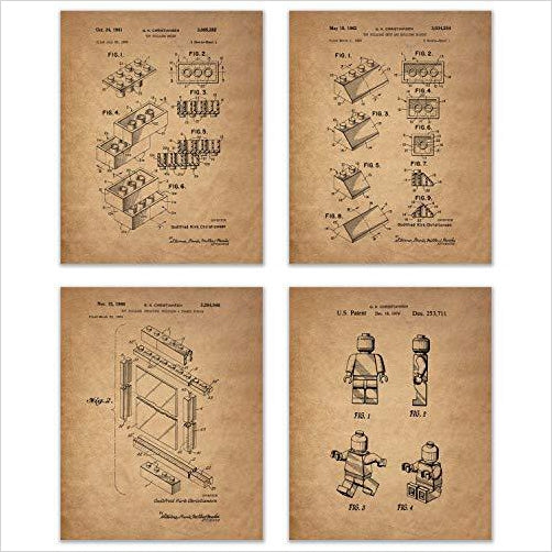 Lego Patent Art Prints - Set of Four-Home - www.Gifteee.com - Cool Gifts \ Unique Gifts - The Best Gifts for Men, Women and Kids of All Ages