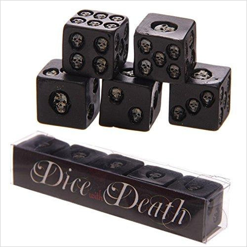 Set Of 5 Six-sided Die With Inlaid Skulls-Toy - www.Gifteee.com - Cool Gifts \ Unique Gifts - The Best Gifts for Men, Women and Kids of All Ages