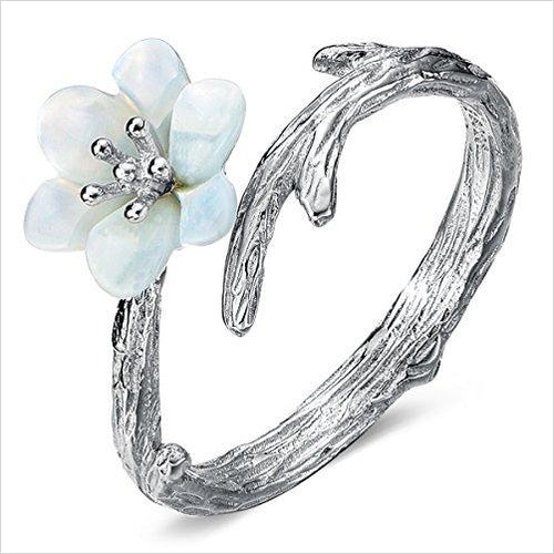 Sterling Silver Women Sakura Cherry Blossoms Open Tail Ring-Jewelry - www.Gifteee.com - Cool Gifts \ Unique Gifts - The Best Gifts for Men, Women and Kids of All Ages