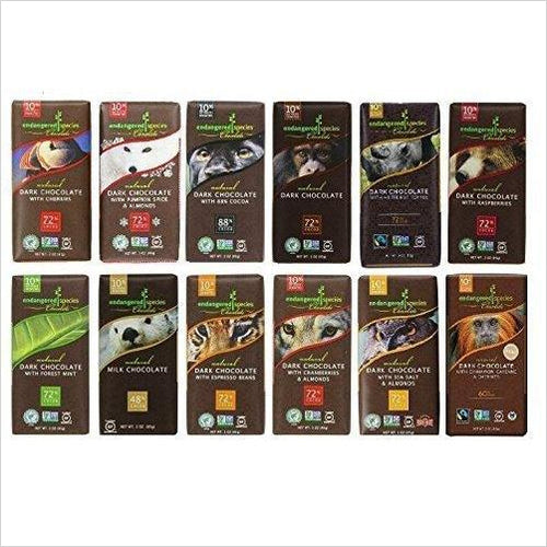 Endangered Species Chocolate Variety Pack 12 Flavors - Find the most unique and unusual gifts. Weird gifts ideas that you never saw before. unusual gadgets, unique products that simply very odd at Gifteee Odd gifts, Unusual Gift ideas