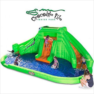 Crocodile Isle Inflatable water Park with Dual Slides-Toy - www.Gifteee.com - Cool Gifts \ Unique Gifts - The Best Gifts for Men, Women and Kids of All Ages