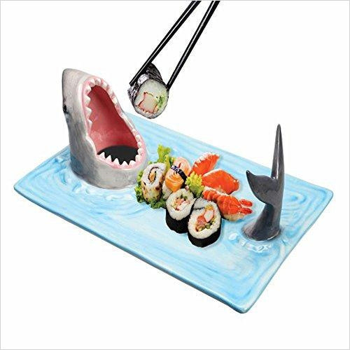Shark Attack Ceramic Sushi Serving Platter - Find unique gifts that will get you kids eating well and eating healthy with unique foodie gifts for kids dinner and the kitchen at Gifteee Cool gifts, Unique Gifts that will make kids enjoy eating