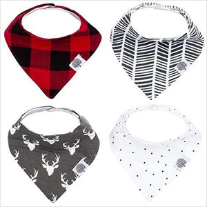 "Bandana Drool Bibs – 4 Pack - ""Lumberjack Set"" - Find unique gifts for a newborn baby and cool gifts for toddlers ages 0-4 year old, gifts for your kids birthday or Christmas, special baby shower gifts and age reveal gifts at Gifteee Unique Gifts, Cool gifts for babies and toddlers"